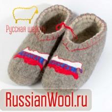 Валяные тапочки с рисунком Россия
