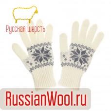 Перчатки женские шерстяные с серыми снежинками
