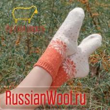 Носки женские шерстяные оранжевые снежинки