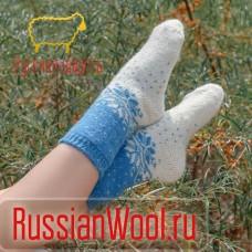Носки женские шерстяные синие снежинки
