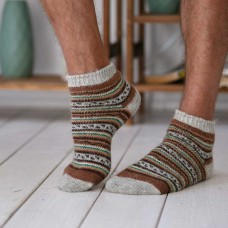 Мужские шерстяные носки короткие Узор зеленый