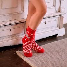 Носки женские шерстяные красные сердечки