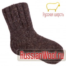 Носки мужские шерстяные ручной вязки толстые коричневые
