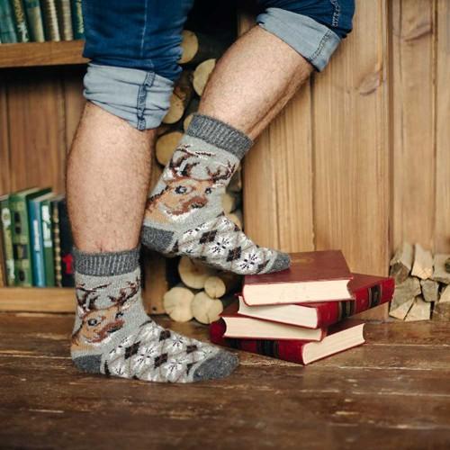 Мужские носки шерстяные с оленем