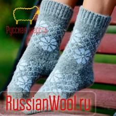 Носки вязаные шерстяные детские Снежинки