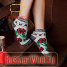 Следки женские шерстяные (низкие носки) с цветами