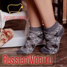 """Следки женские шерстяные (низкие носки) """"Снежинки"""""""
