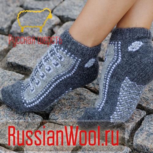 Следки женские шерстяные (низкие носки) со шнурками