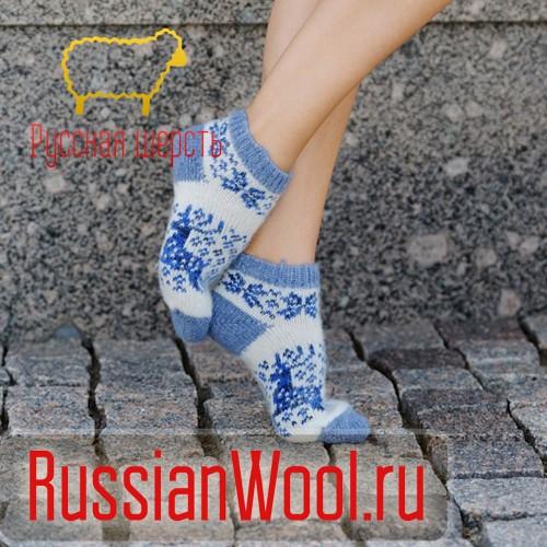Следки женские шерстяные (низкие носки) с оленями