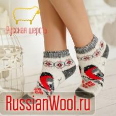 Следки женские шерстяные (низкие носки) со снегирями