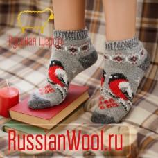 Следки женские шерстяные (низкие носки) со снегирями 3