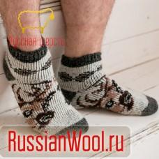 Мужские шерстяные носки короткие Олень