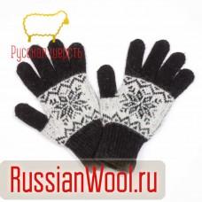 Перчатки женские шерстяные снежинки черные