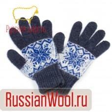 Перчатки женские шерстяные снежинки джинс