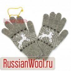 Перчатки женские шерстяные с оленями Серые