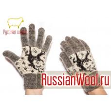 Перчатки женские шерстяные с оленями