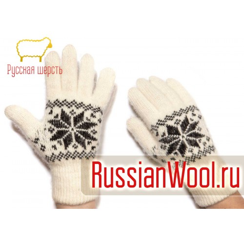 Перчатки женские шерстяные с черными снежинками
