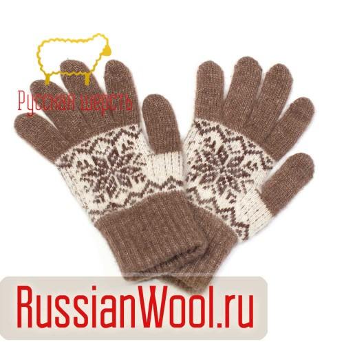 Перчатки женские шерстяные снежинки кофе