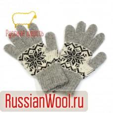 Перчатки женские шерстяные снежинки серые