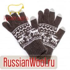 Перчатки мужские шерстяные с оленями Сенсорные