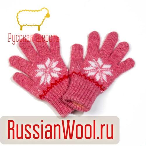 Перчатки детские розовые Звезда