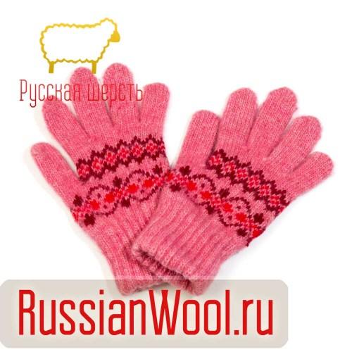 Перчатки детские розовые Орнамент