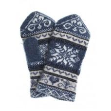 Варежки женские вязаные синие Снег