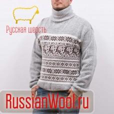 Мужской шерстяной свитер из ангорки с рисунком Олени