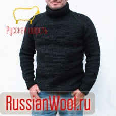 Свитер мужской шерстяной крупной вязки Кольчуга
