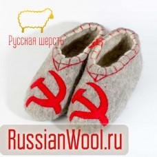 Валяные тапочки с рисунком СССР