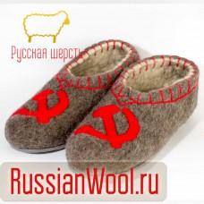 Валяные тапочки с рисунком СССР на подошве