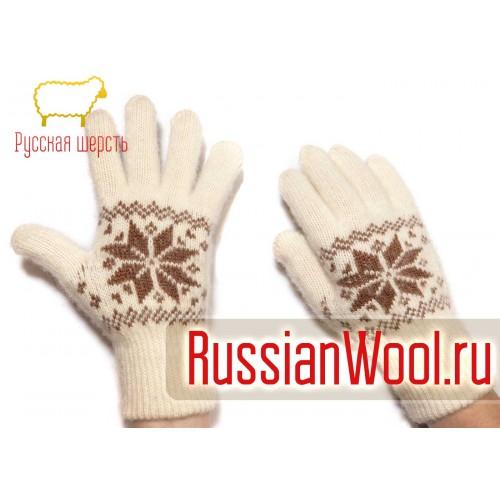Перчатки женские шерстяные с коричневыми снежинками
