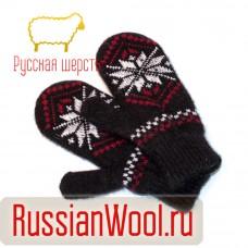 Варежки женские вязаные черные Снежинки