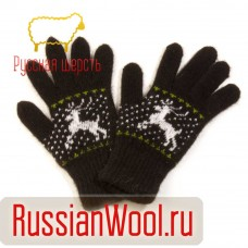 Перчатки женские шерстяные с оленями черные