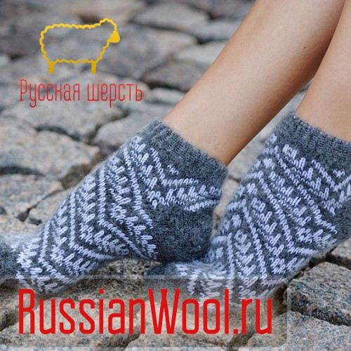 Следки женские шерстяные (низкие носки) снежинка