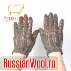 Перчатки женские пуховые Ажур серые