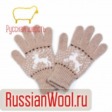 Перчатки женские шерстяные с оленями какао