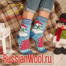 Носки шерстяные женские Снеговик