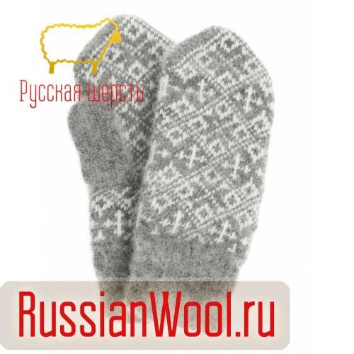 Варежки женские шерстяные Кавказ