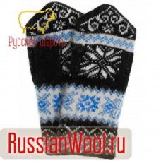 Варежки женские шерстяные снежинки с орнаментом черные