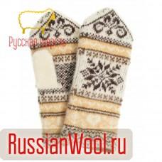 Варежки женские шерстяные снежинки с орнаментом крем