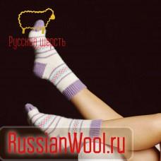 Носки шерстяные женские традиция (лаванда)