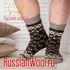 Носки шерстяные мужские ромбы коричневые
