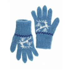 Перчатки детские синие Олень