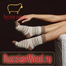 Носки шерстяные женские традиция (капучино)