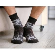 Мужские носки шерстяные снежинки коричневые