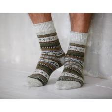 Мужские носки шерстяные зеленый узор