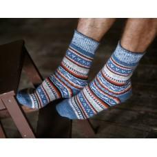 Мужские носки шерстяные синий узор