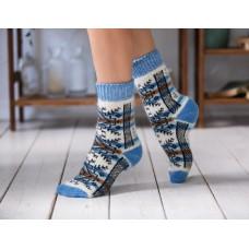 Носки шерстяные женские голубые снежинки