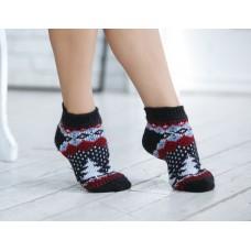 Следки женские шерстяные (низкие носки) Елки